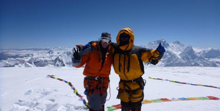 Me and Dorje Khatri on the summit of Cho Oyu in 2011