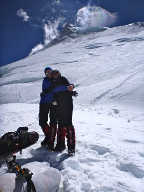 Mila and I happy to reach Camp 2 during summit push (by Edita Nichols)