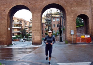 Running in the ancient city Rome