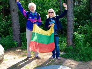 "Edita and Vladas on the highest point in Lithuania ""Aukstoji"""