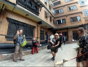 Leaving the Hotel IN Katmandu - Goodbye to Tibi (the guard dog :-)