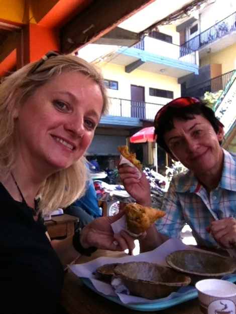 Margaret and I having lunch at one of the best somosa place in Kathmandu!