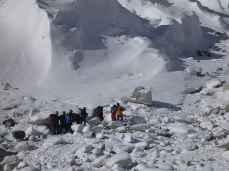Leaving Everest Base Camp with the injured