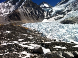 View of Khumbu ice fall, Nuptse, Western shoulder of Everest and black summit of Everest