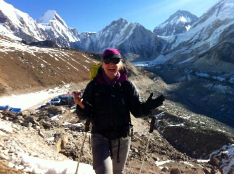 Pumori and Khumbu ice fall behind me - view from a hill before Gorak Shep