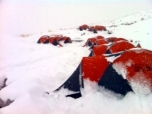 Fresh snowfall at base camp
