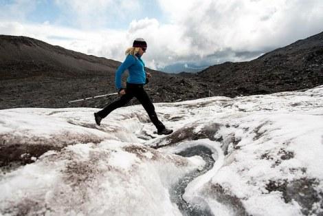 Edita jumping across a glacial creek on Antisana (photo credit: Berta Tilmantaite)
